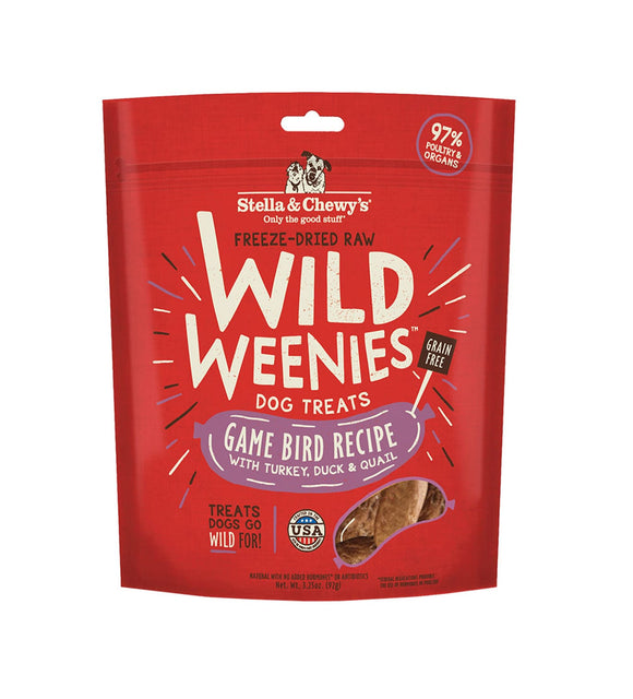 Stella & Chewy's Wild Weenies Game Bird Freeze-Dried Raw Dog Treats 3.25oz Bag