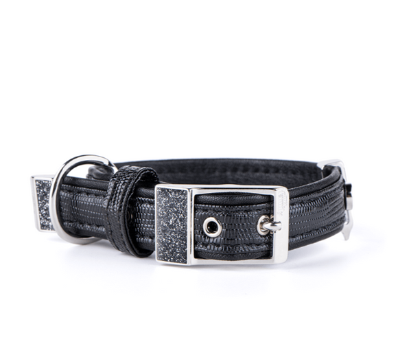 SAINT TROPEZ BLACK LEATHERETTE COLLAR