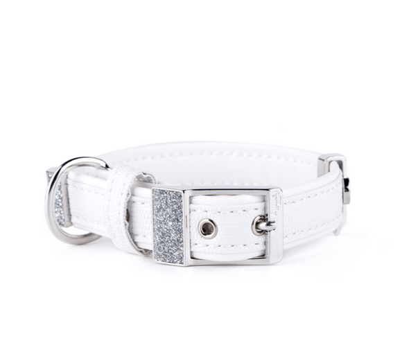 SAINT TROPEZ WHITE LEATHERETTE COLLAR
