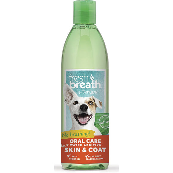 Tropiclean Fresh Breath Water Additive + Plus Skin & Coat (16 oz - 32 oz) Bottle