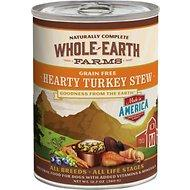Whole Earth Farms Grain Free Hearty Turkey Stew Canned Dog Food, 12.7-oz (For all ages & dog breeds)