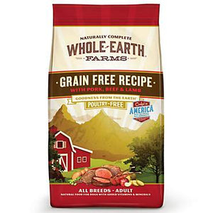 Whole Earth Farms Grain Free Beef, Pork Lamb +Organic Alfafa & Salmon Oil Adult Dog Food
