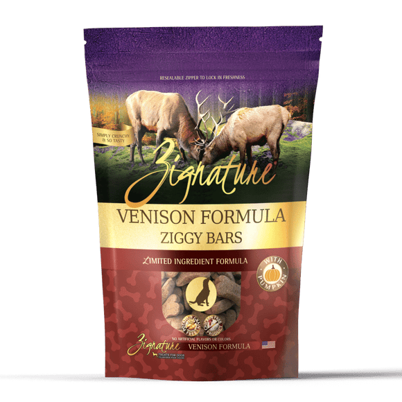 Zignature Venison Formula Ziggy Bars Biscuit Dog Treats 12oz bag