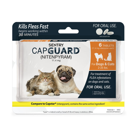 Sentry Capguard Oral Flea Tablets for Dogs & Cats (2 to 25 lbs)