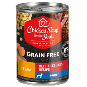 Chicken Soup for the Soul Beef & Legumes Stew Grain Free Canned Dog Food, 13-oz