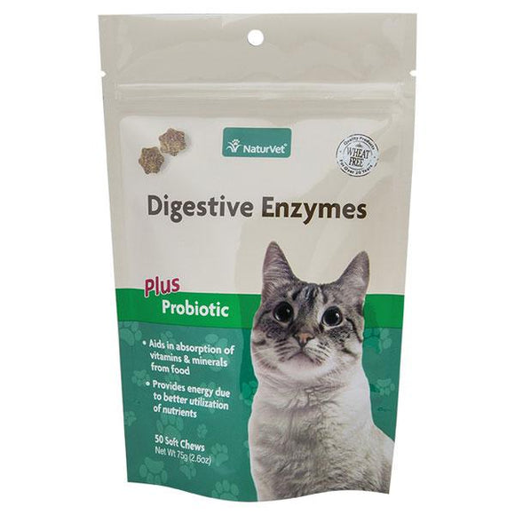 NaturVet Digestive Enzymes Plus Probiotics Cat Soft Chews - 50ct