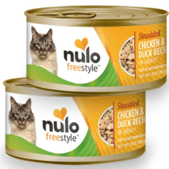 Nulo FreeStyle  Cat Shredded Chicken & Duck in Gravy 3oz Canned Cat Food
