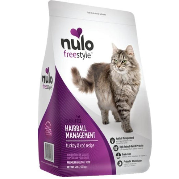 Nulo Freestyle Cat Grain Free Hairball Management Turkey & Cod Recipe Dry Cat Food (5 - 12lb)
