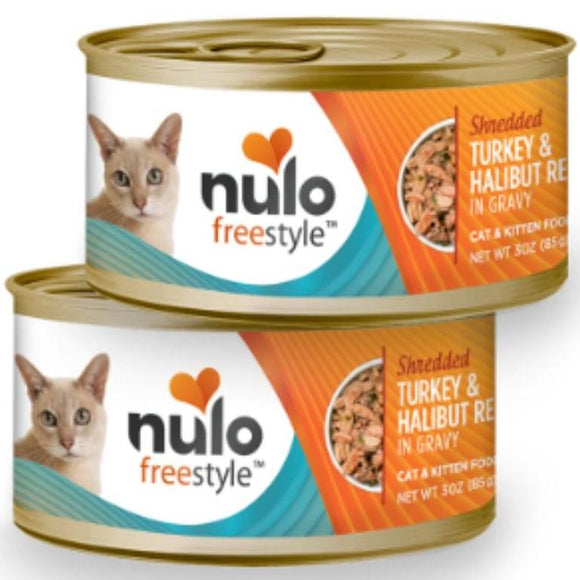 Nulo FreeStyle Cat Shredded Turkey & Halibut in Gravy 3oz Canned Cat Food