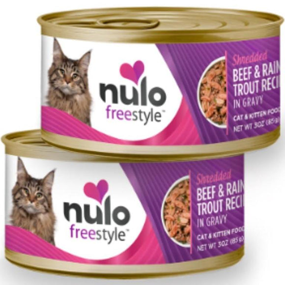 Nulo FreeStyle Cat Shredded Beef & Rainbow Trout in Gravy 3oz Canned Cat Food