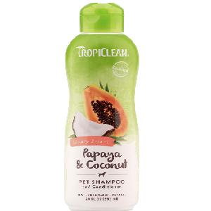 Tropiclean Luxury 2 in 1 Papaya & Coconut Pet Shampoo and Conditioner 20oz Bottle (For Dogs and Cats)