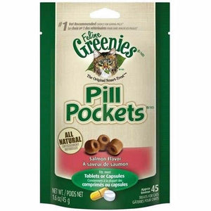 Greenies Pill Pockets Feline Salmon Flavor Cat Treats, 1.6-oz