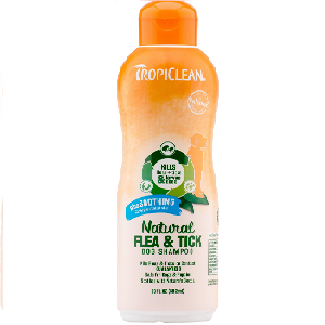 TropiClean Natural Flea & Tick Plus Soothing Dog Shampoo 20 oz Bottle
