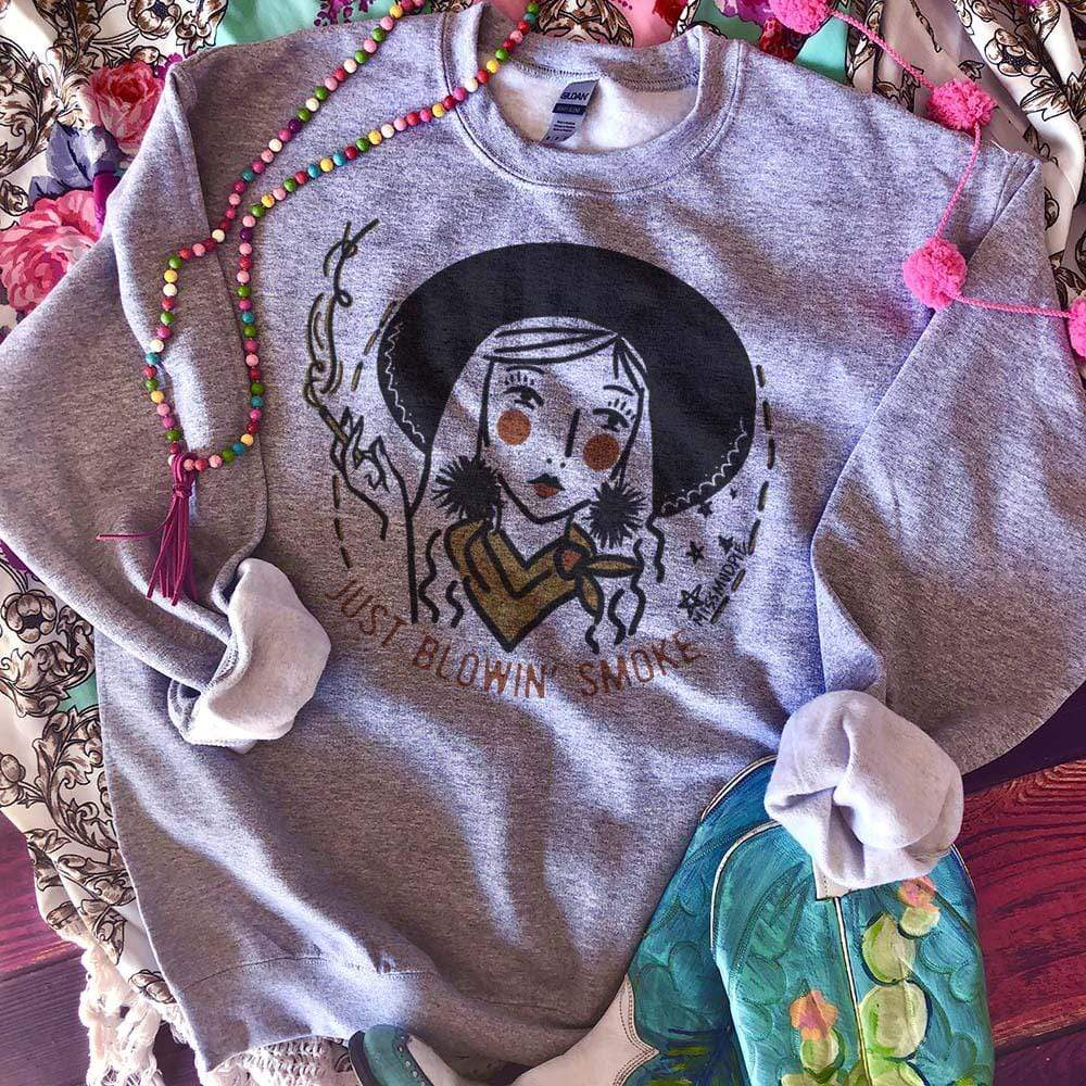 MISSMUDPIE Blowin' Smoke - gray sweatshirt