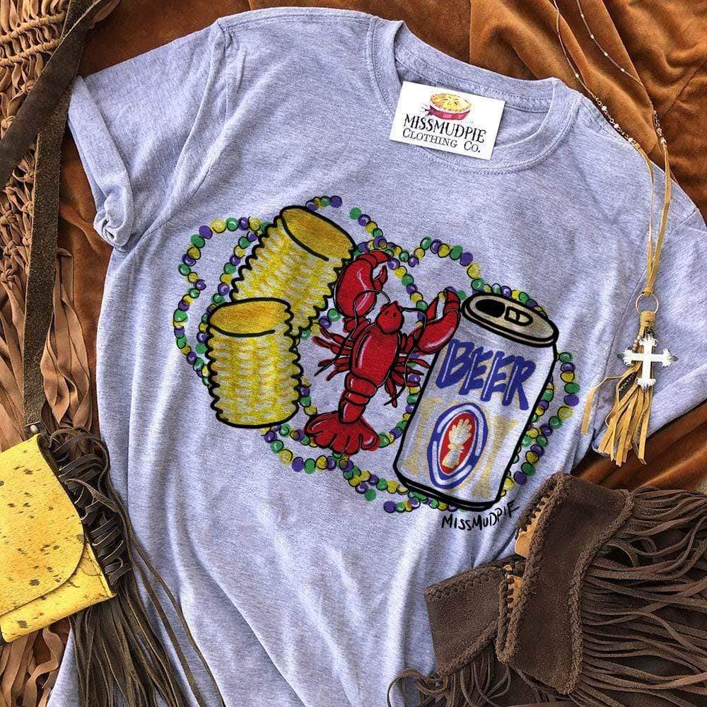 MISSMUDPIE Corn Crawfish & Beer - Heather Gray