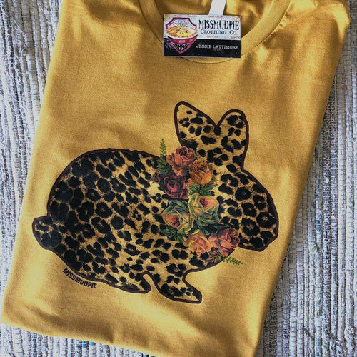 MISSMUDPIE EASTER Leopard Bunny with Flowers - Mustard