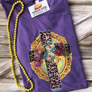 EASTER Leopard Cross with Flowers - Purple
