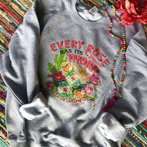 MISSMUDPIE Every rose has its thorn Sweatshirt - Heather Gray