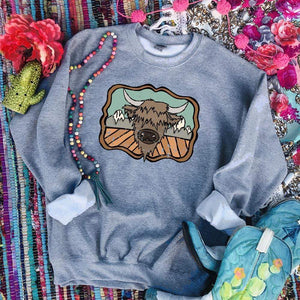 "Shipping Dept. ""HIGHLAND COW and the MOUNTAINS"" on GRAY SWEATSHIRT - THE ROAMING SAGUARO COLLECTION by Meghan Wolff"