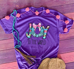 MISSMUDPIE Joy To the WORLD with turquoise wreath  - PURPLE
