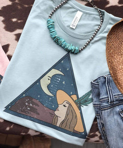 "Shipping Dept. ""LADY and the MOON"" on DUSTY BLUE- THE ROAMING SAGUARO COLLECTION by Meghan Wolff"