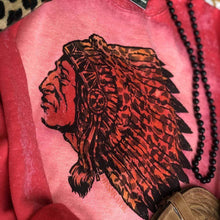 Load image into Gallery viewer, Leopard Indian Chief Red Bleached Sweatshirt
