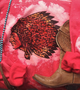MISSMUDPIE Leopard Indian Chief Red Bleached Sweatshirt