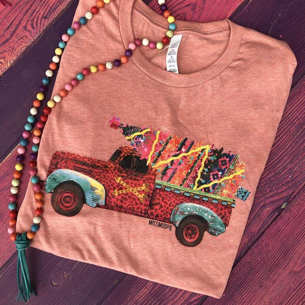 Leopard Truck with Serape Christmas Tree - SUNSET