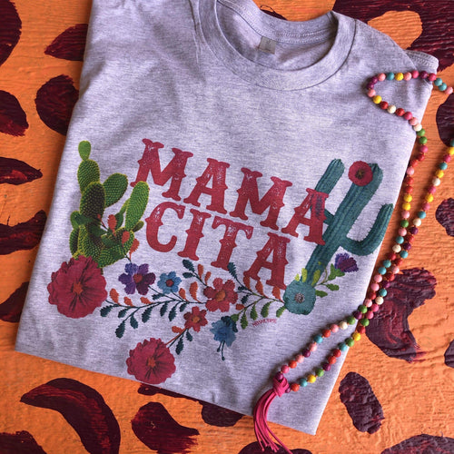 MISSMUDPIE Mamacita With Cactus  - Heather Gray