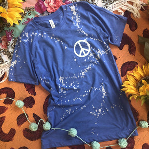 MISSMUDPIE Peace sign left chest  Heather Blue - *Discontinued color~ LAST CHANCE ~ Limited Quantities!!