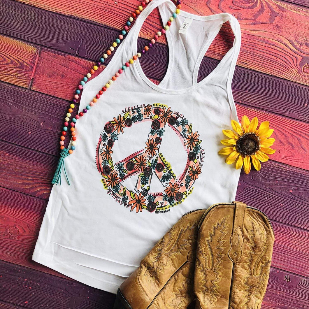Shipping Dept. Peace Sign White Racerback TANK TOP SALE!!!