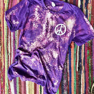 Purple Bleached Tee with Peace Sign