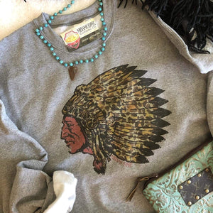 MISSMUDPIE SWEATSHIRT  Gray- Leopard Indian Chief
