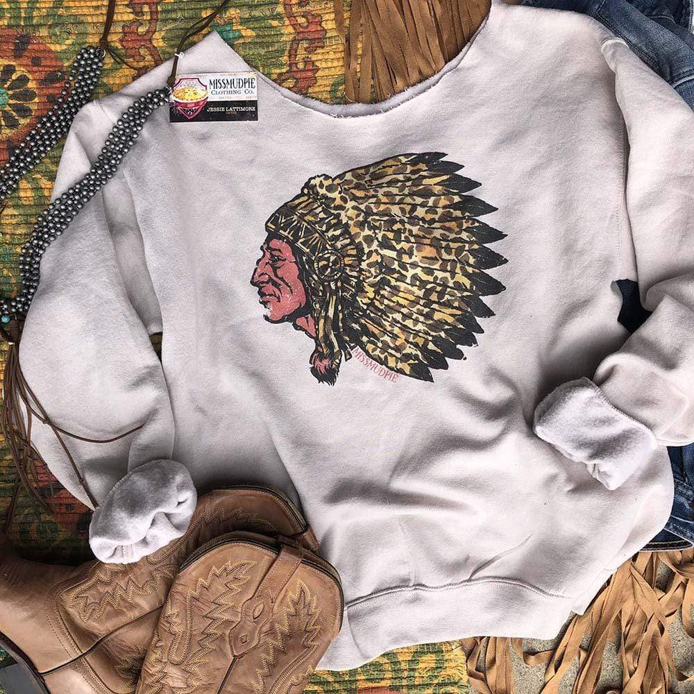 Leopard Indian Chief Cream Sweatshirt