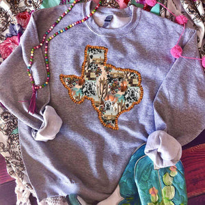 MISSMUDPIE Texas Western Collage with Cactus & Highland Cow - gray sweatshirt *U*