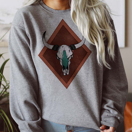 Shipping Dept. Turquoise Cow Skull Gray Sweatshirt - THE ROAMING SAGUARO COLLECTION by Meghan Wolff