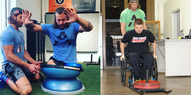 Adaptive Athlete working out in gym with trainer