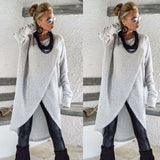 Fashion Womens Asymmetrical Knitting Loose Sweatshirt Pullover Long Tops Blouse