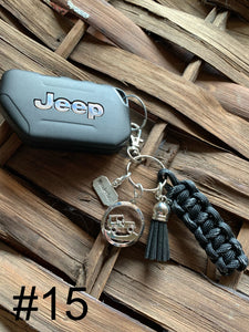 JEEP Paracord Key Chain- Black & Gray