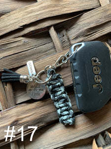 JEEP Paracord Key Chain- Black & Silver