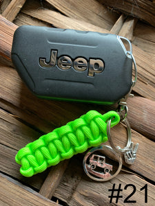 JEEP Paracord Key Chain- Bright Green