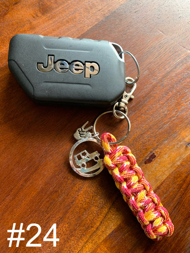 JEEP Paracord Key Chain- Yellow & Maroon