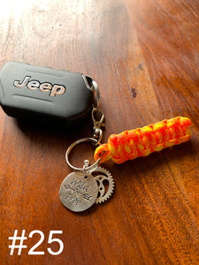 JEEP Paracord Key Chain- Bright Orange & Yellow