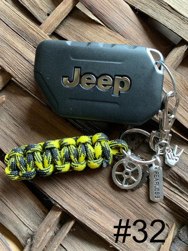JEEP Paracord Key Chain- Black & Yellow