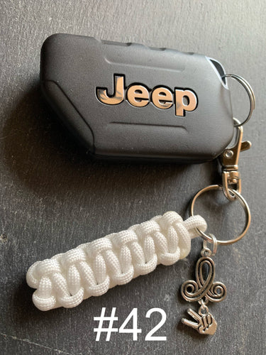 JEEP Paracord Key Chain- White