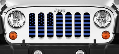 Black and Blue American Flag Jeep Grille Insert