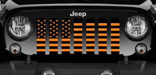 Black and Orange American Flag Grille Insert