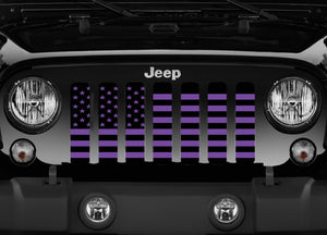 Black and Purple American Flag Jeep Grille Insert