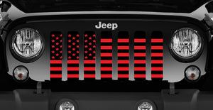 Black and Red American Flag Jeep Grille Insert