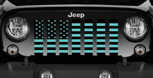 Black and Teal American Flag Grille Insert